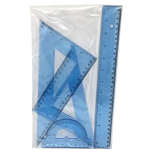DOBO Set Scuola Geometria misurazione Disegno Tecnico Kit Righello 30 cm Squadre angolazione 30 45 60 Gradi goniometro plastica Flessibile Azzurro o Verde Trasparente