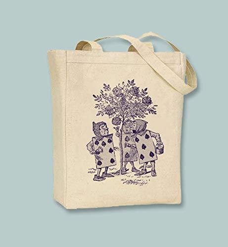 Alicia en el país de las maravillas ilustraciones originales en lona bolsa de lona y bolsas de comestibles lavables, reutilizables, gran elección para regalo para madre, abuela, abuela y abuela