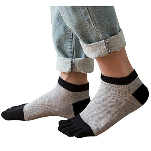 URIBAKY 3 pares de calcetines populares unisex, transpirables, con cinco dedos y transpirables, de fibra de bambú, antiolor, color liso marrón Talla única