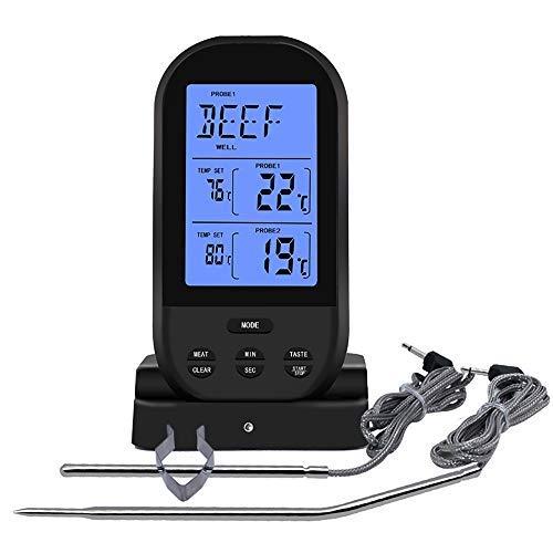 Jayron Termómetro de carne digital inalámbrico temporizador de cocina con dos sondas Termómetro de cocina para ahumador de carne parrilla de horno barbacoa (negro)