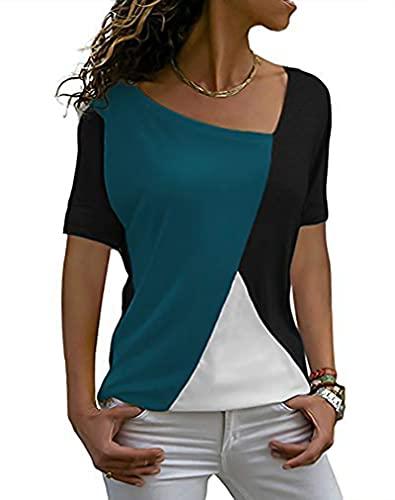 Sarin Mathews Womens Shirts Casual Tee Shirts Short Sleeve Patchwork Color Block Loose Fits Tunic Tops Blouses Black+Acidblue 2XL