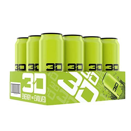 3D Energy Drink | Caffeine, Zero Sugar, Taurine, Panax Ginseng, Inositol, Guarana Seed, L-Carnitine Tartrate, 16 Fluid Ounce  | 12 Pack (Green)