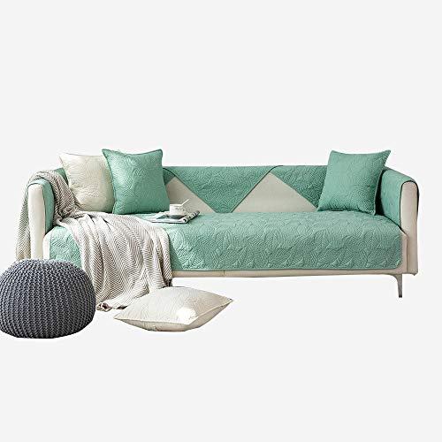 YUTJK Fashion Mehrzweck Sofabezug Sofaüberwurf aus Baumwolle, Couch Überzug, Bettüberwurf Tagesdecke Sofa Überzug, Schnittmuster Baumwoll Sofa Pad, Für Ledersofas, Grün 1