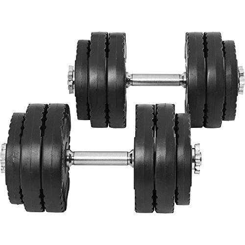 GORILLA SPORTS® Kurzhantelset - 30 kg, Gewichte 4x1,25kg / 8x2,5kg, 2X Kurzhantelstangen 43 cm, Ø 30 mm, gerändelt, Kunststoff, mit 4 Sternverschlüsse - Hantel Set, Kurzhanteln 2er Set