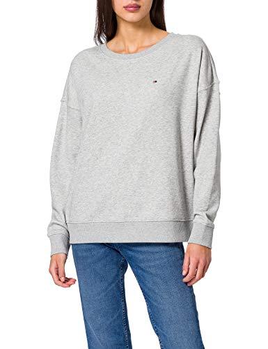 Tommy Hilfiger Damen Oversized Open-NK LS Sweatshirt, Hellgrau (Light Grey Heather), 42