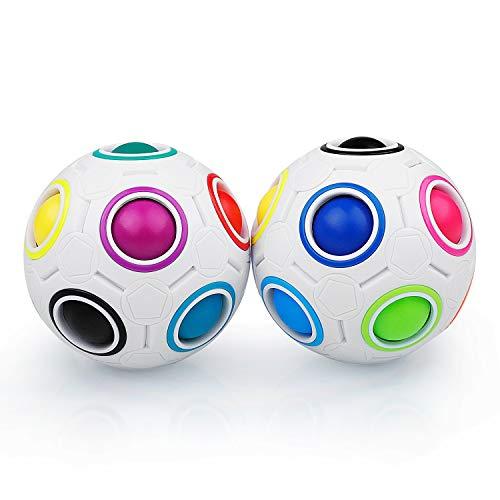 Coolzon Magic Regenbogen Ball Zauberbälle, 2 Stück Magisch Regenbogenball Zauberball 3D Puzzle Ball Spielzeug für Kinder Gastgeschenk,Weiß+Weiß