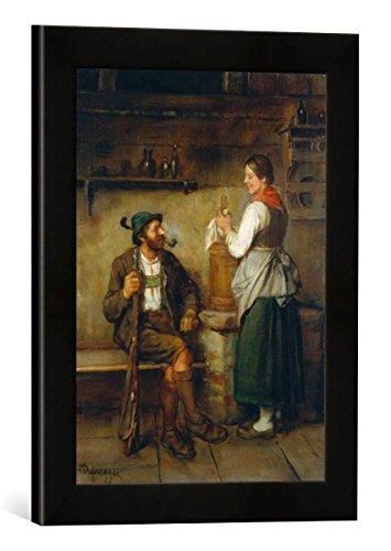 Gerahmtes Bild von Franz von Defregger Jäger und Dirn in der Kuchl bei fröhlichem Geplauder, Kunstdruck im hochwertigen handgefertigten Bilder-Rahmen, 30x40 cm, Schwarz matt