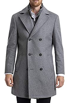 Chaps Men s Short Classic Double-Breasted Coat Light Grey 38S