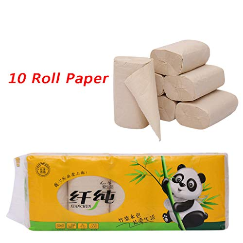 Somerl Toilettenpapierrollen 10 × Rollenpapier Kernloser Bambuszellstoff Natürliches Rollenpapier Haushalts-Rohzellstoff-Toilettenpapier(12x13.8cm)