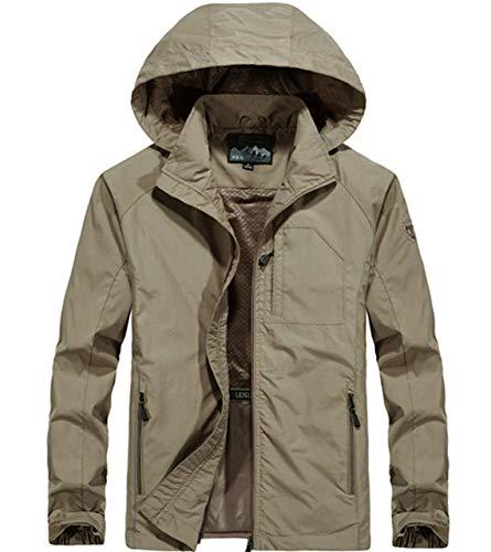 Loeay Mens Hoodies Sweat Printemps Automne Léger Casual Sportswear en Plein Air Escalade Randonnée Manteaux Bomber Veste Manteaux Kaki 5XL