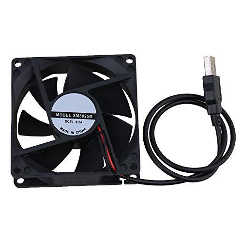 BQLZR 5V Negro 8CM 8025 USB Poder silencioso Rodamiento de Bolas Caja de la computadora Ventilador de refrigeración para el Caso de la computadora CPU Cooler