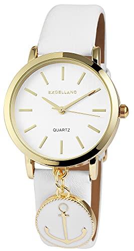Reloj Mujer Oro Blanco Ancla Analog Piel Reloj de Pulsera