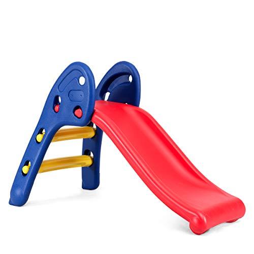 COSTWAY Klappbare Kinder Rutsche Rutschbahn Kinderrutsche Gartenrutsche Kleinkinderrutsche für Indoor und Outdoor, Empfohlenes Alter: 3-8 Jahre