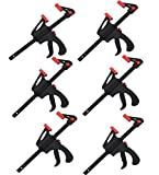 KAHEIGN F-Bar Morsetto da Falegname, 6PZ Lavorazione Legno Strettoi Falegname 4inch Clip di Legno Falegname Strumento Grip Quick Release a cricchetto Spremere Lavorazione Legno Utensili a Mano