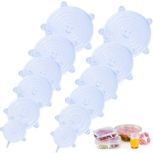 LOHOTEK Elásticas Tapas-de-Silicona Reutilizable-Ajustables Fundas para Alimentos-Protectoras - para Varios recipientes, Lavavajillas, Horno microondas, congelador, Libre de BPA (12 Packs)