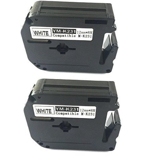 Brother M-K231 / MK231/ M231 / M-K231BZ Schriftband für Brother P-touch Etikettendrucker, Weiß, 2 Stück
