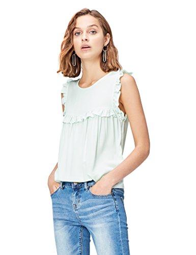 Marchio Amazon - find. T-shirt senza Manica con Rouches Donna, Verde (Pistachio), 42, Label: S