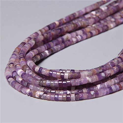 YUXIwang Pulsera de 4 x 2 mm, disco plano natural, piedra redonda de cristal Jades, espaciador de abalorios, hecho a mano, pulsera y collar y pendientes (color: 33. Amatista)
