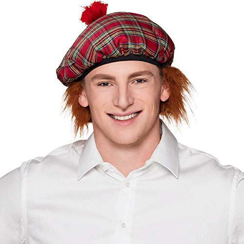 Boland 81223 Barett Mr Tartan mit Haar, Rot, One Size