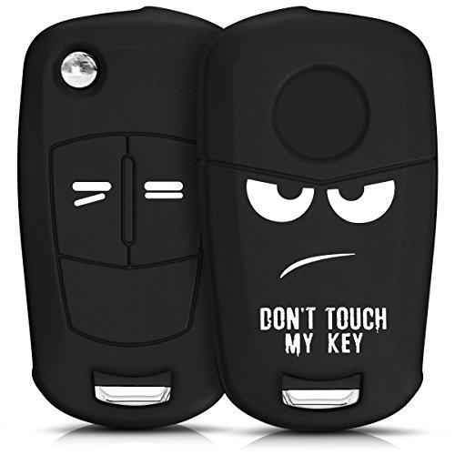 kwmobile Cover chiave compatibile con Opel Vauxhall con 2 tasti pieghevole - Guscio protettivo coprichiave morbido silicone TPU - Don't touch my Key bianco/nero