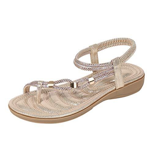 DFMNE Sandalen für Frauen Mädchen Damen Frühling Sommer Bohemia Kristall Strand Flops Flip Casual Fashion 2019, Gold - Gold - Größe: 38 EU