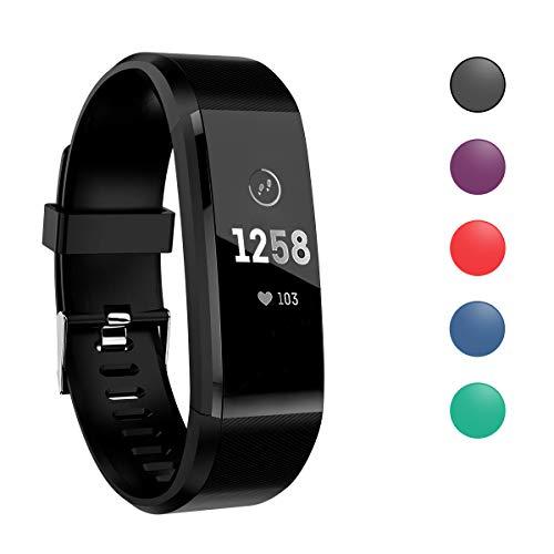 ATETION Orologio Fitness Tracker per Donna Uomo Bambini, Impermeabile Cardiofrequenzimetro da Polso Smartwatch, Contapassi Calorie Activity Tracker Smartband con Monitoraggio Sonno (Nero)