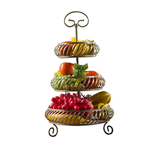 TIDLT Support Multicouche De Fruit, Étagère De Stockage en Métal De Mode, Support D'organisateur De Partie Supérieure du Comptoir (Couleur : 3 Layers-Champagne Color)