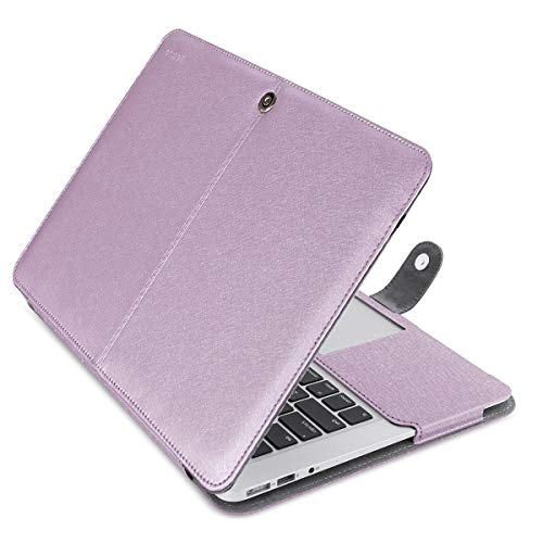 MOSISO MacBook Air 13 inch Case, Premium PU Leather Book Folio Protective Stand Cover Sleeve Compatible with MacBook Air 13 inch A1466 / A1369 (Older Version Release 2010-2017), Silky Light Purple