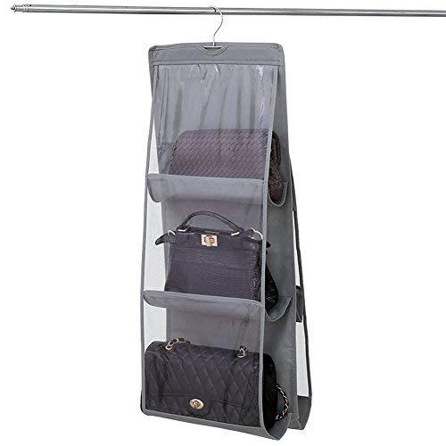 NNIUK Borsa organizzatore Armadio con Gancio 6 Tasche Traspiranti Storage Bag Organizzatore per Armadio Camera da Letto, 13.7 x 12.6 x 35.4 Pollici