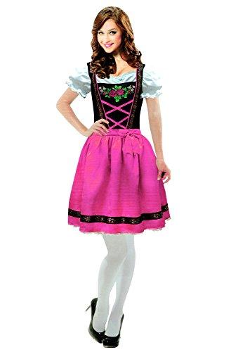 Dirndl Trachtenkleid Karneval Kostüm Fasching Kleid Oktoberfest Trachten (L/XL)