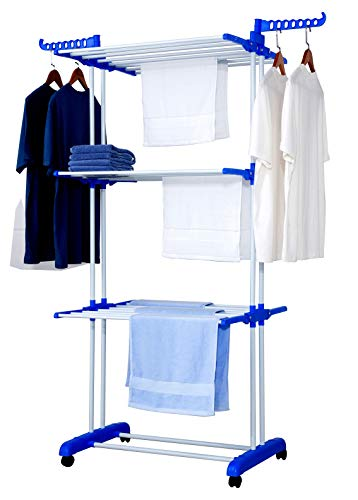 Talk-Point Mobiler Turm- Wäscheständer, Wäschetrockner, Wäscheturm | 18 Meter Wäscheleine, klappbar, mobil | mit Seitenflügel | für Innen & Außen (blau)