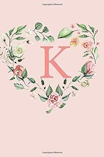 K: A Soft Pink Floral Heart Wreath Monogram Sketchbook | 110 Sketchbook Pages (6 x 9) | Floral Watercolor Monogram Sketch Notebook | Personalized Initial Letter Journal | Monogramed Sketchbook
