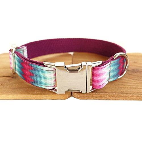 PENIVO Collares de nylon ajustables para perros, pavo real púrpura Acock stripe Collar de perro y correa para perros medianos y grandes, opción de 5 tamaños (Collar, XS 2cm * 23-30cm)