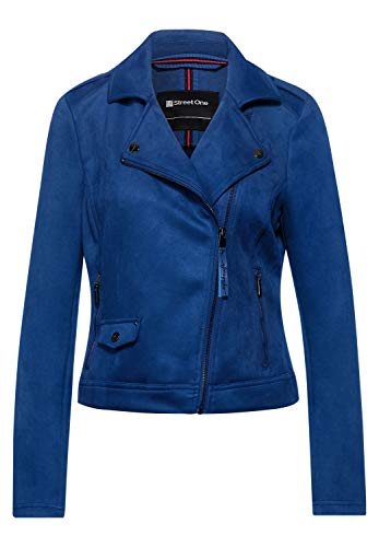 Street One Damen Fake Veloursleder-Jacke Cobalt Blue 42