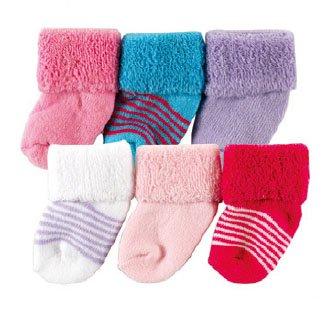 Luvable Friends 20615P Baby Socken 6er Set uni & gestreift Größe: 0-3 Monate