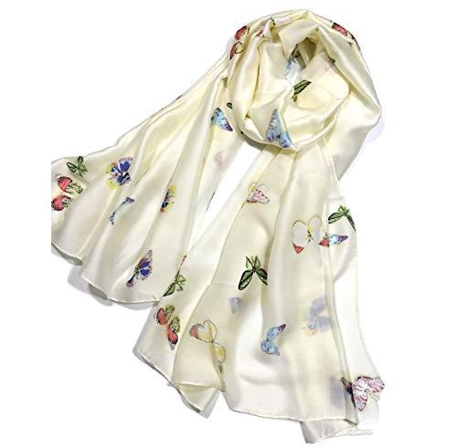 Shanlin Silk Feel Long Satin Butterfly Scarves for Women (Butterflies-Creamy)