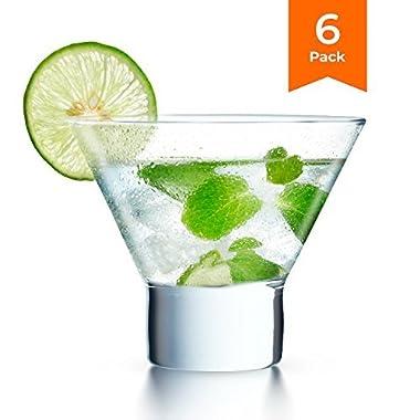 KooK Stemless Martini Cocktail Glass 8 Ounces, Set of 6