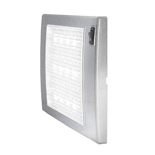 Carbest Foco LED 12 V, SlimLite Plata, 185 x 110 x 12 mm, LED azul como luz de emergencia para caravanas y autocaravanas