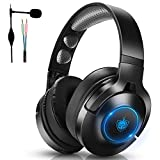 Wireless Headphones, PC Gaming Headset for PS4 PS5 PC Xbox One, Over-Ear Headphones with Noise-Canceling Mic & 7.1 Stereo Sound, Bluetooth Earphones only for Music/Movie/Travel/Work, up to 40h (Blue)