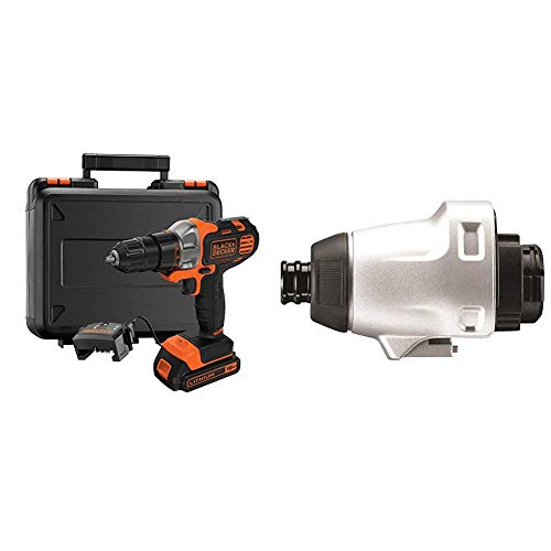BLACK+DECKER 18 V Multievo Power Drill with Screw Bits, Driver Attachment and Kitbox, 1.5 Ah Lithium Ion, MT218K-GB & Multievo Multi-Tool Impact Driver Attachment, MTIM3-XJ
