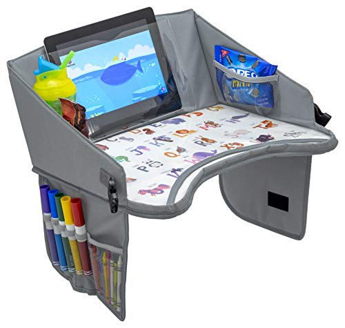 Kids Travel Tray for Car Seat with Dry Erase, Cup/iPad/Holder, 16x12 (Gray)
