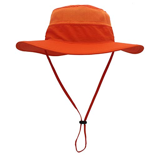 Home Prefer Unisex Daily Outdoor Sun Hat Camouflage Mesh Bucket Hat Wide Brim Boonie Fishing Hats Orange