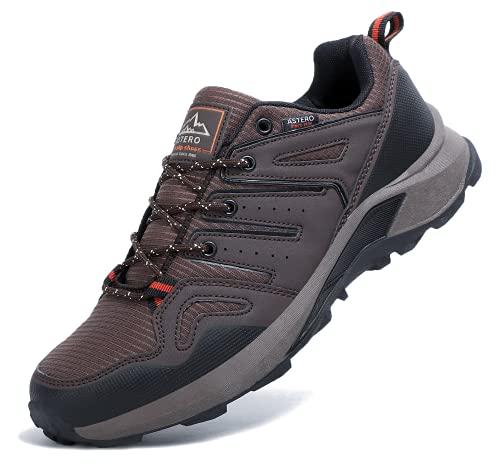 ASTERO Scarpe Running Uomo Ginnastica Outdoor Sportive Basse Sneakers Fitness Trail Corsa Trekking Montagna Leggero Escursionismo Taglia 41-46(Marrone, Numeric_43)