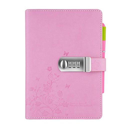 Portátil Diario Bloc de Notas Contraseña Cuaderno de Cuero PU ,cuaderno diario con cerradura de combinación para hombres y mujeres TPN099,rosa 145x210mm (5.71x8.27 inch)