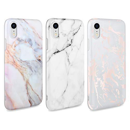 AROYI [3 Stück iPhone XR Hülle Matt Marmor, Weich Silikon Handyhülle Stein Marble Ultra Dünn Handytasche Flexibel Kratzfest Schutzhülle Cover für iPhone XR (Weiß)