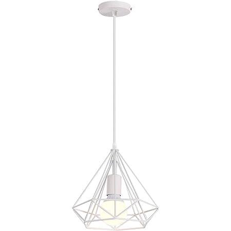 iDEGU Suspension Luminaire Vintage Lustre en Forme de Diamant en Métal Plafonnier Lampe Suspension pour Chambre Salon Restaurant - Diamètre 25cm (Blanc)