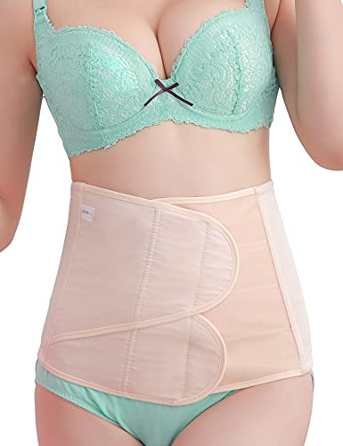 C Section Postpartum Belly Band Girdle Wrap Abdominal Binder C-section Recovery Postnatal Support Belt (L, Nude Postpartum Belly Wrap)