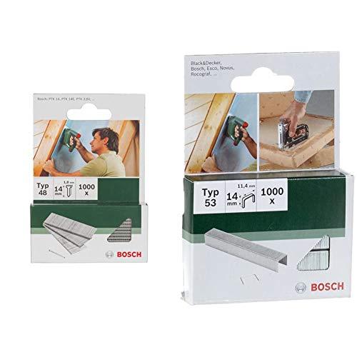 Bosch 2 609 255 813 Clavo tipo 48 (pack de 1000) + Professional 2 609 255 823 Grapa tipo 53 (pack de 1000)