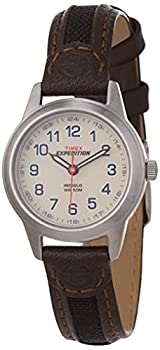Timex Women s T41181 Expedition Field Mini Black/Brown Nylon/Leather Strap Watch