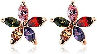 Swarovski Elements diamond crystal style colorful girl flower elegant gold plated stud earrings Jin2